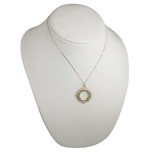 9ct Gold 35mm Full Sovereign mount with a diamond cut Bezel Pendant with a curb chain