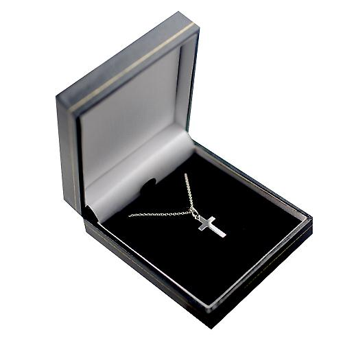 Silver 17x10mm diamond star set solid block Cross with a rolo Chain 14 inches Only Suitable for Children