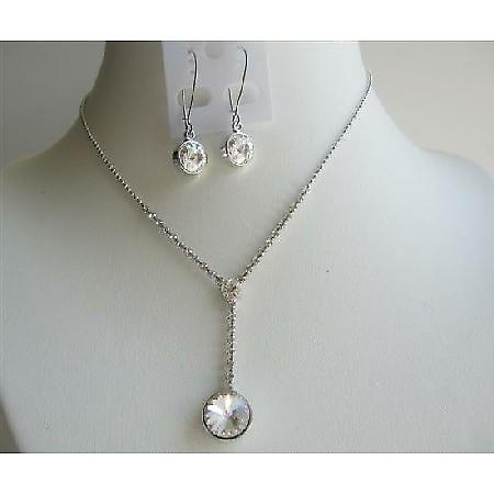 Bridal Bridesmaid Clear Simulated Crystals Necklace Set Jewelry