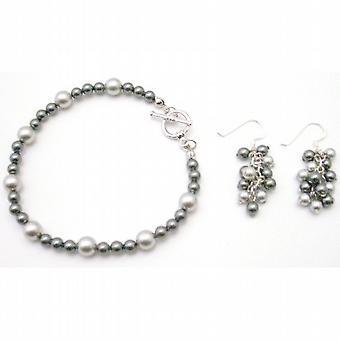 Wedding Gray Jewelry Lite Dark Gray w/ Dangling Grape Bunch Earrings