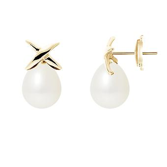 Earrings ears pearls of Culture white and yellow gold 750/1000