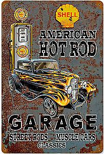 Shell American Hot Rod Garage rusted metal sign (pst 1812)