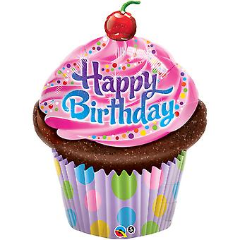 Qualatex 35 Inch Happy Birthday Frosted Cupcake Foil Balloon