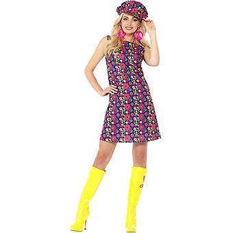 traje de las señoras vestido de 1960 de psychedelic CND Peacezeichen flores niño hippie