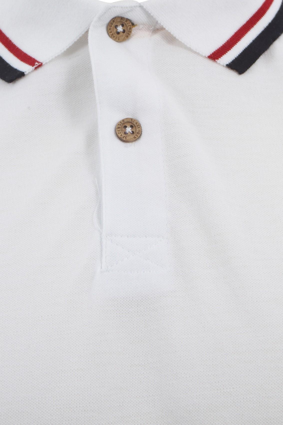White Slazenger Vintage Polo Shirt With Striped Collar