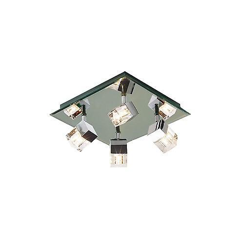 Dar LOG8550 Logic Bathroom Flush Ceiling Light With Mirrored Plate