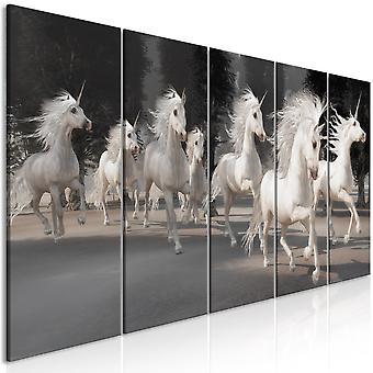 Canvas Print - Unicorns Run (5 Parts) Narrow