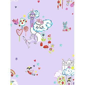 Unicorns and Castles Wallpaper Lilac Holden 12219
