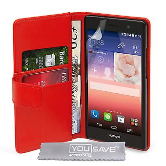 YouSave accesorios Huawei Ascend P7 LeatherEffect cartera caso rojo