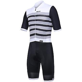 Santini Black 2019 Genio Short Sleeved Cycling Suit