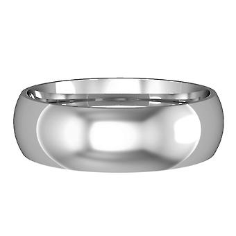 Jewelco London 9ct White Gold - 6mm Essential Court-Shaped Band Commitment / Wedding Commitment Ring