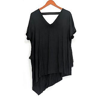 Lisa Rinna Collection Women's Plus Top V-Neck w/Chiffon Back Black A303168