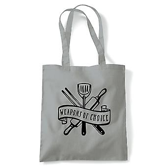 Weapons Of Choice Tote | Baking Cooking Kitchen Utensils Oven Apron Tray | Reusable Shopping Cotton Canvas Long Handled Natural Shopper Eco-Friendly Fashion