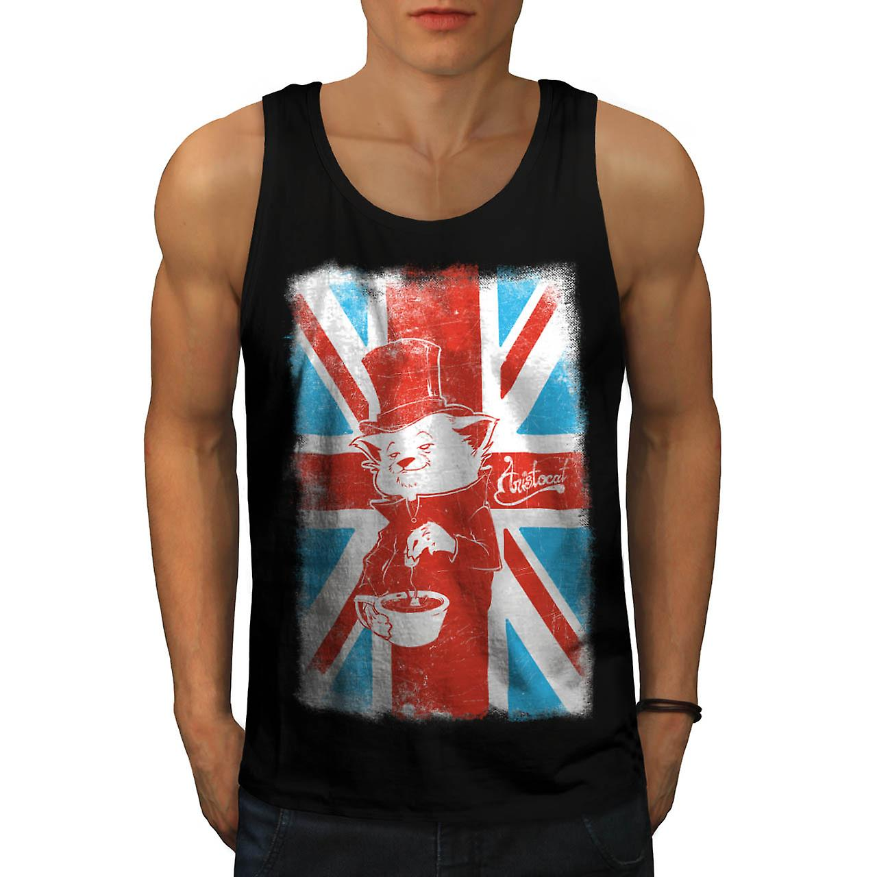 UK Cat Pet Aristocat British Tea Men Black Tank Top | Wellcoda