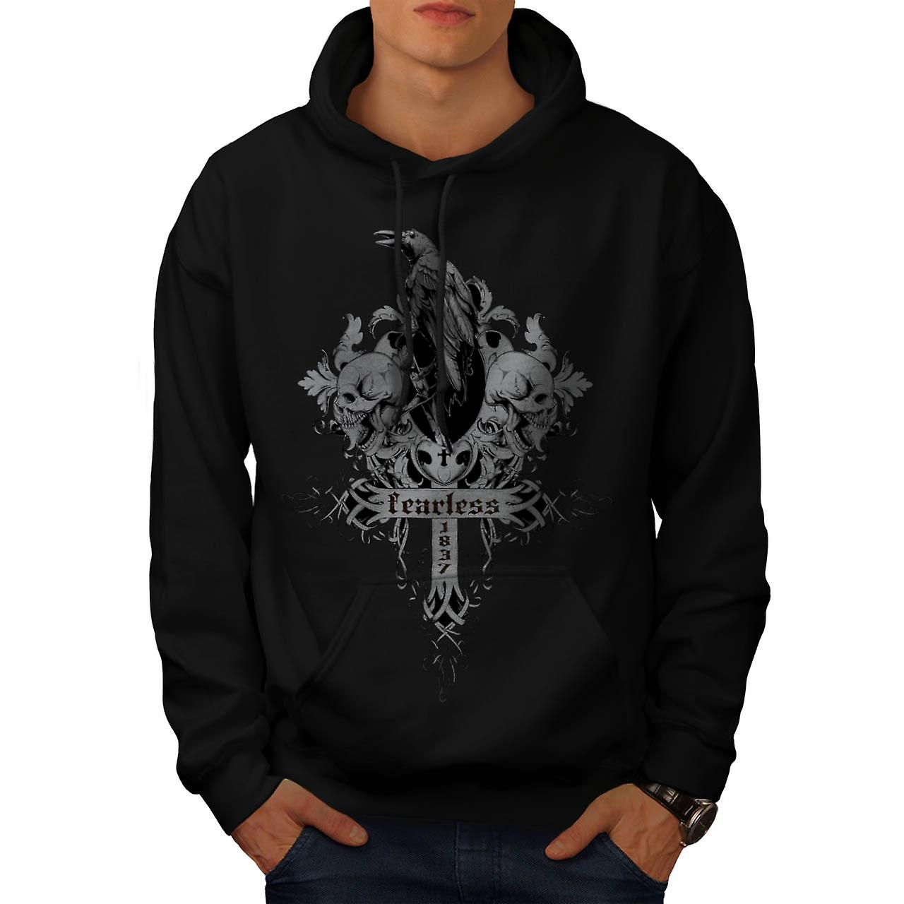 Fearless Death Crow Grave Yard Men Black Hoodie | Wellcoda
