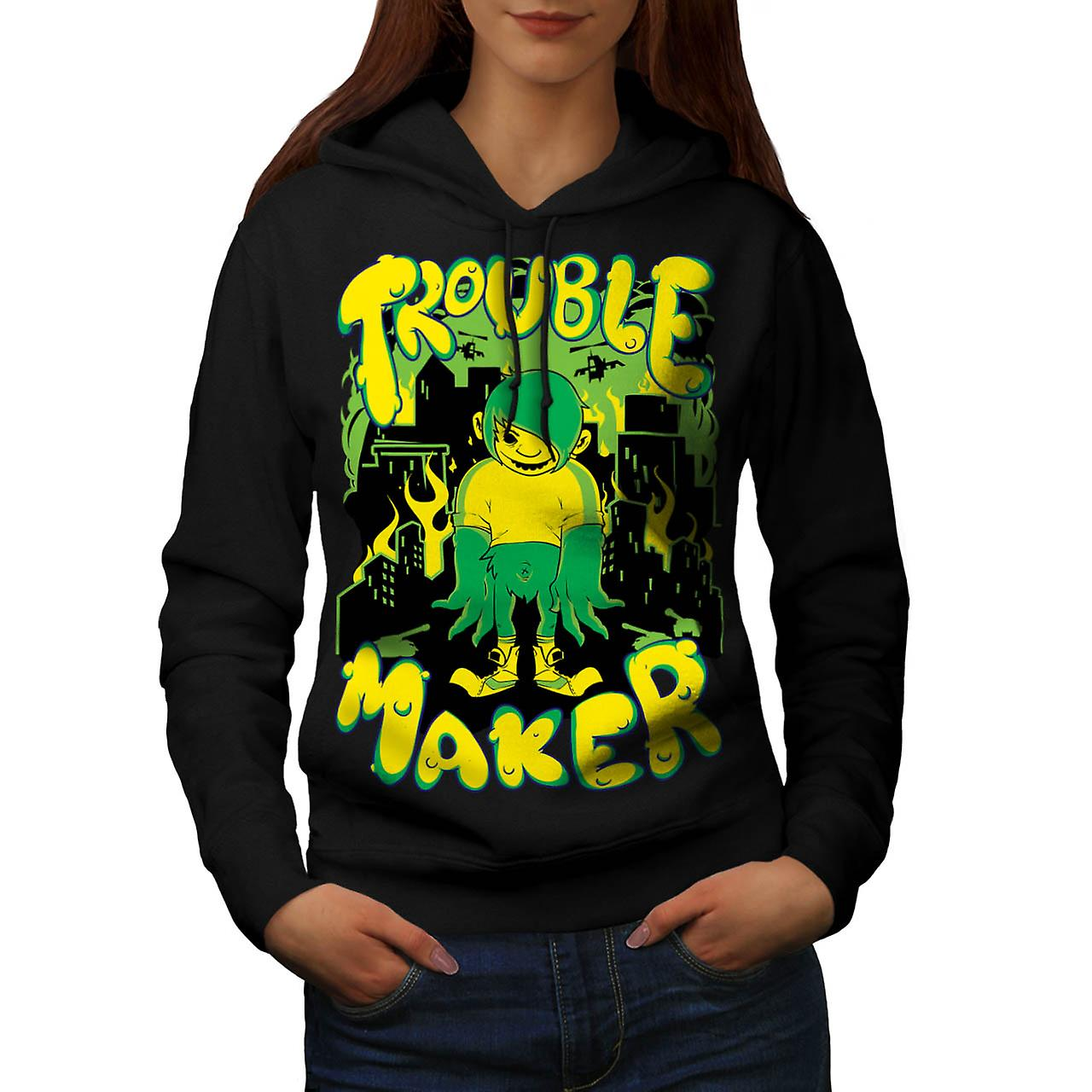 Trouble Maker Youth Chaos Problem Women Black Hoodie | Wellcoda