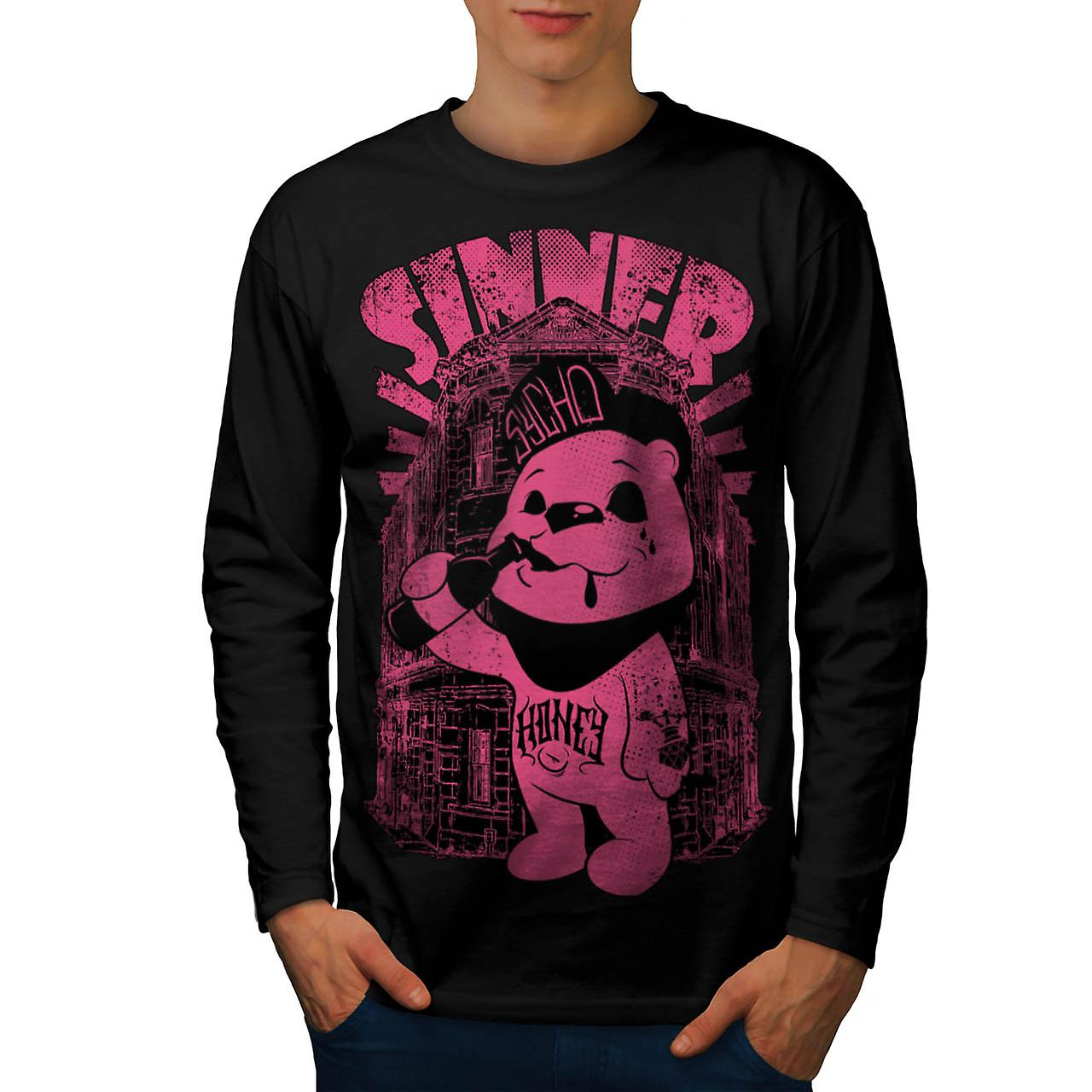 Sinner Teddy Ted Bear Psycho Cub Men Black Long Sleeve T-shirt | Wellcoda