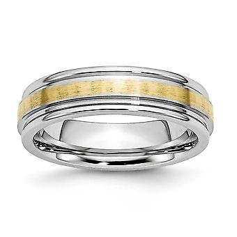 Cobalt krom poleret Engravable afrundet kant 14k guld Inlay Satin polske 6mm Band Ring - ringstørrelse: 7-13
