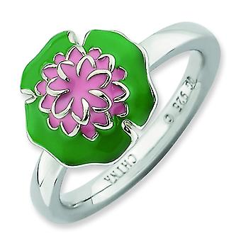Sterling Silver Stackable Expressions Water Lily Ring - Ring Size: 5 to 10