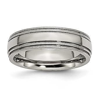 Titanium Engravable Grooved Beaded 6mm Polished Band Ring - Ring Size: 7 to 13