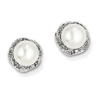 Sterling Silver Rhodium Freshwater Cultured Pearl and Diamond Post Earrings - .03 dwt