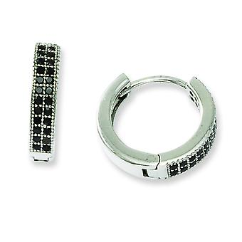 Sterling Silver and Black Cubic Zirconia Brilliant Embers Hoop Earrings
