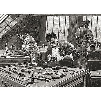 Diamond Cutting In Amsterdam The Netherlands In The 19Th Century From Pictures From Holland By Richard Lovett Published 1887 PosterPrint