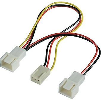 PC fan Y cable [2x PC fan plug 3-pin - 1x PC fan socket 3-pin] 0.15 m Black, Red, Yellow Akasa
