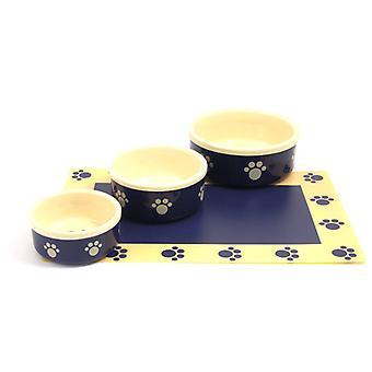 Stengods Pet maträtt blå/beige tass 6