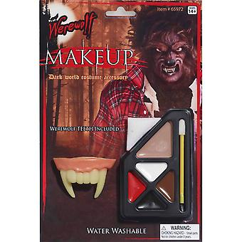 Werewolf Wolfman Wolf Monster Halloween Men Costume Makeup & Teeth