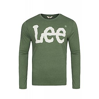 Lee logo tee long sleeve sweaters men's sweatshirt green logo