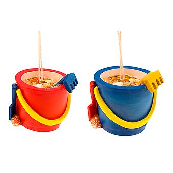 Blue and Red Beach Sand Buckets Resin Christmas Holiday Ornaments Set of 2