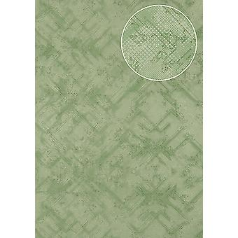 Graphic wallpaper Atlas SIG-581-0 non-woven wallpaper structured shimmering with abstract pattern green Minty green light green 5.33 m2