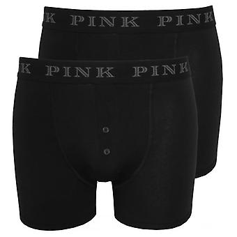 Thomas Pink 2-Pack Baker Button-Fly Boxer Trunks, Black