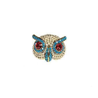 W.A.T mousserend Opal Swarovski Crystal Owl Ring