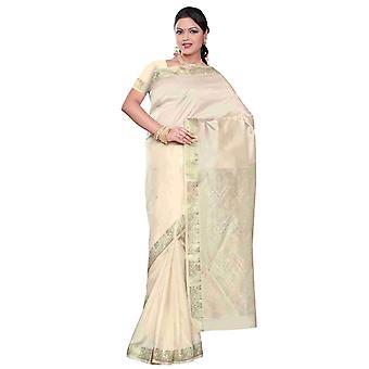 Creme - Benares Kunstseide Sari / Saree/Bauchtanz Stoff (Indien)