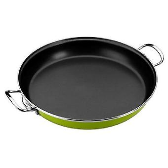 Monix Paella pan 32 cm  Lima  Enameled Steel Verde. suitable Induccón