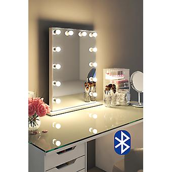 Diamond X højglans hvid Hollywood Makeup Audio spejl LED k113MCWaud
