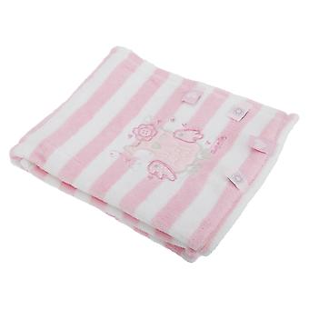 Baby Boys/Girls Striped Fleece Blanket With Embroidered Animal Design