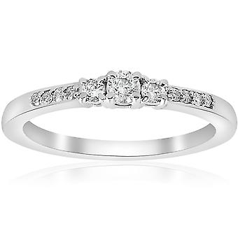 1/4ct Three Stone Round Diamond Engagement Ring 14K White Gold