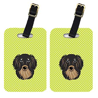 Pair of Checkerboard Lime Green Longhair Black and Tan Dachshund Luggage Tags