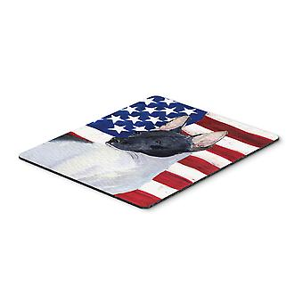 USA American Flag with Rat Terrier Mouse Pad, Hot Pad or Trivet