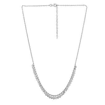 Sterling Silver Rhodium Plated Expandable Necklace with Hanging Beads, 16 + 2 Inch