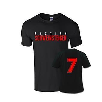 Bastian Schweinsteiger frontal nome t-shirt (preto)
