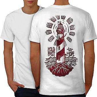 Lighthouse Hope Fashion Men WhiteT-shirt Back | Wellcoda