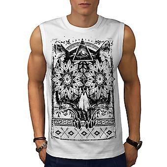 Dreieck Psycho Skull Männer WhiteSleeveless T-shirt | Wellcoda