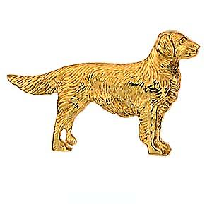 9ct Gold 25x40mm Long haired Labrador Brooch