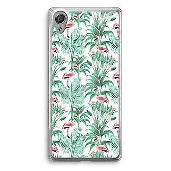 Sony Xperia XA1 Transparent Case - Flamingo leaves