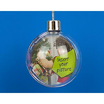 Outstanding Quality 85mm Two Part Plastic Gift Boxed Bauble for Photo or Filling