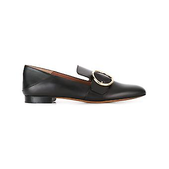 Bally women's 62117010100 black leather moccasins